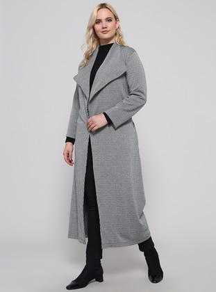 Gray - Plaid - Unlined - Shawl Collar - Plus Size Coat