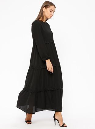 Black - Crew neck - Fully Lined - Dresses