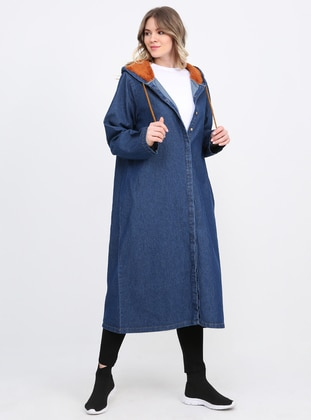 Blue - Navy Blue - Unlined - Cotton - Denim - Plus Size Overcoat - Alia
