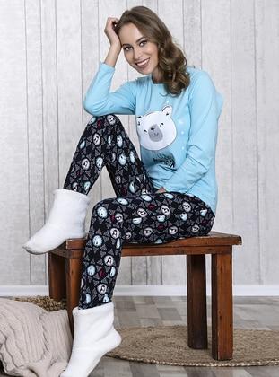 Blue - Crew neck - Multi - Pyjama - Lingabooms
