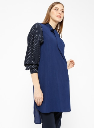 Navy Blue - Indigo - Crew neck - Tunic
