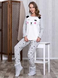 Gray - Crew neck - Multi - Pyjama