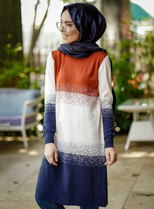 Terra Cotta - Multi - Crew neck - Tunic - İnşirah