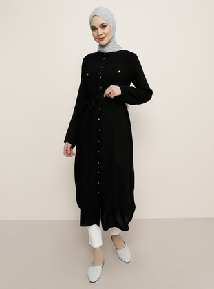 Black - Button Collar - Viscose - Tunic