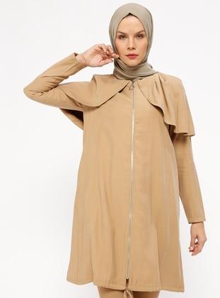 Camel - Unlined - Crew neck - Topcoat
