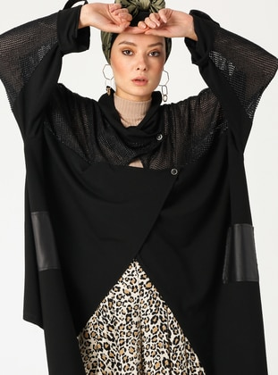 Black - Plus Size Jacket - PLİSTRE