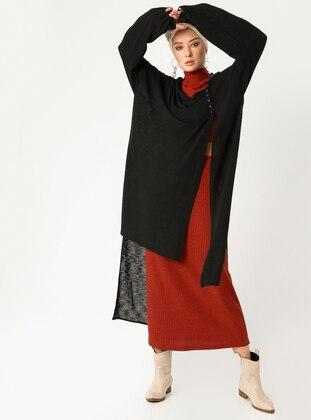 Black - Plus Size Cardigan - PLİSTRE