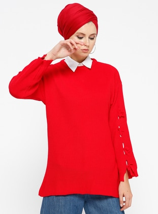 Red - Crew neck - Acrylic -  - Jumper