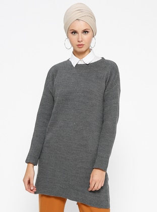 Gray - Anthracite - Crew neck - Acrylic -  - Tunic