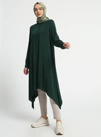 Green - Point Collar - Viscose - Tunic
