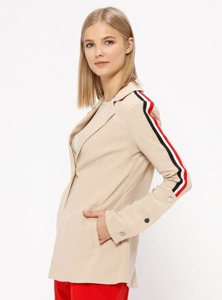 Beige - Unlined - Shawl Collar - Jacket