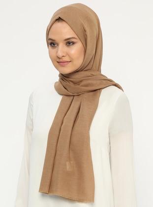 Camel - Plain - Cotton - Shawl