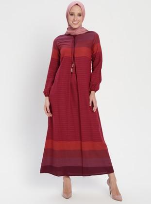 Fuchsia - Stripe - Crew neck - Unlined - Dress - BAGİZA