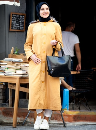Yellow - Fully Lined - Button Collar - Coat