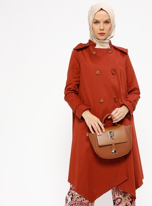 Terra Cotta - Fully Lined - Crew neck - Trench Coat