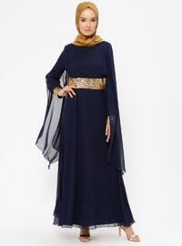 Navy Blue - Fully Lined - Crew neck - Muslim Evening Dress