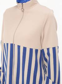 Saxe - Stripe - Unlined - Polo neck - Topcoat