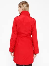 Red - Fully Lined - Crew neck - Trench Coat
