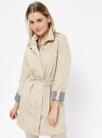 Beige - Fully Lined - Crew neck - Trench Coat