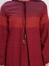 Fuchsia - Stripe - Crew neck - Unlined - Dress - BAGİZA