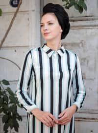 Blue - Stripe - Point Collar - Blue - Stripe - Point Collar - Blue - Stripe - Point Collar - Tunic