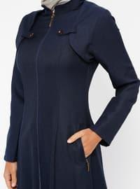 Navy Blue - Unlined - Crew neck - Topcoat