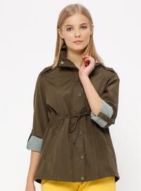 Khaki - Fully Lined - Polo neck - Trench Coat