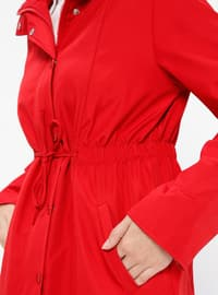 Red - Fully Lined - Polo neck - Trench Coat