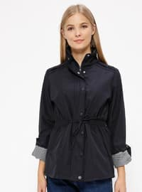 Navy Blue - Fully Lined - Polo neck - Trench Coat