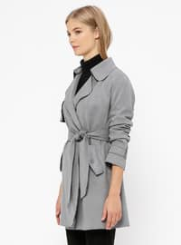 Gray - Unlined - Shawl Collar - Trench Coat