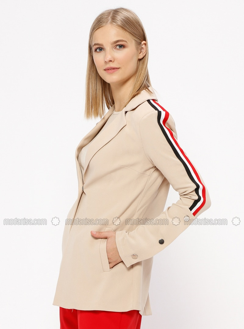 Beige - Unlined - Shawl Collar - Jacket