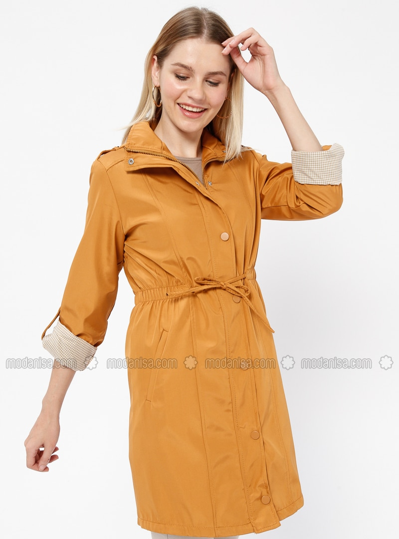 Mustard - Fully Lined - Crew neck - Trench Coat