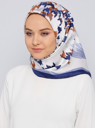 Navy Blue - Printed - %100 Silk - Scarf