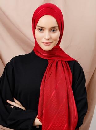 Cherry - Striped - Viscose - Shawl