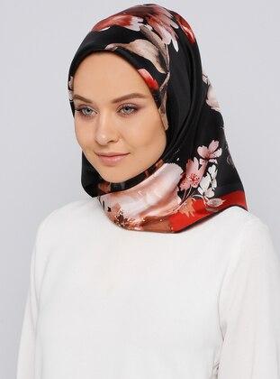 Red - Printed - %100 Silk - Scarf - Kayra Eşarp