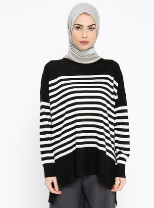 Black – Stripe – Crew Neck – Jumper – Pilise