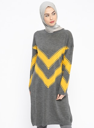 Anthracite – Stripe – Crew Neck – Wool Blend – Acrylic – Tunic – Pilise