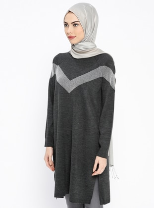 Anthracite – Crew Neck – Wool Blend – Acrylic – Tunic – Pilise