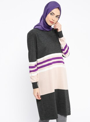 Anthracite – Stripe – Crew Neck – Tunic – Pilise