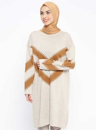 Beige – Stripe – Crew Neck – Wool Blend – Acrylic – Tunic – Pilise