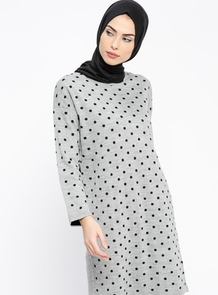 Gray - Polka Dot - Crew neck - Wool Blend - Acrylic -  - Tunic