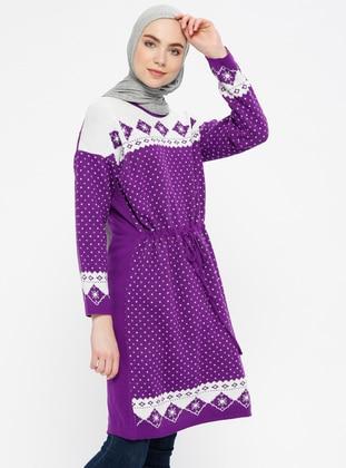 Purple - Multi - Crew neck - Wool Blend - Acrylic -  - Jumper
