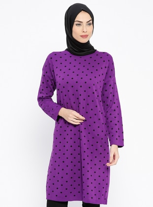 Purple - Polka Dot - Crew neck - Wool Blend - Acrylic -  - Tunic