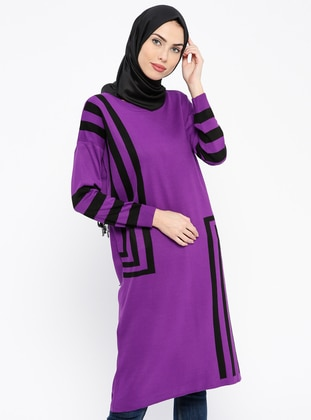 Black – Purple – Stripe – Crew Neck – Wool Blend – Acrylic – Tunic – Pilise