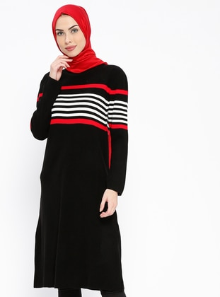 Black – Stripe – Polo Neck – Tunic – Pilise