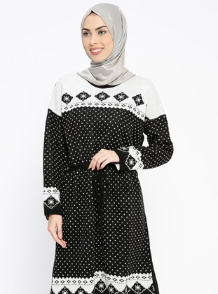 Black – Multi – Crew Neck – Wool Blend – Acrylic – Tunic – Pilise