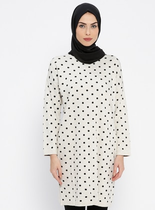 Beige – Polka Dot – Crew Neck – Wool Blend – Acrylic – Tunic – Pilise