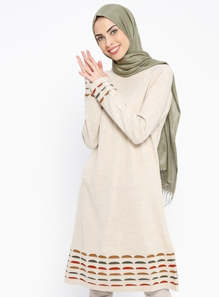 Beige – Crew Neck – Wool Blend – Acrylic – Tunic – Pilise