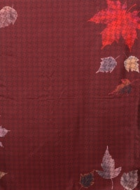 Maroon - Printed - %100 Silk - Scarf