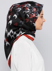 Black - Printed - %100 Silk - Scarf